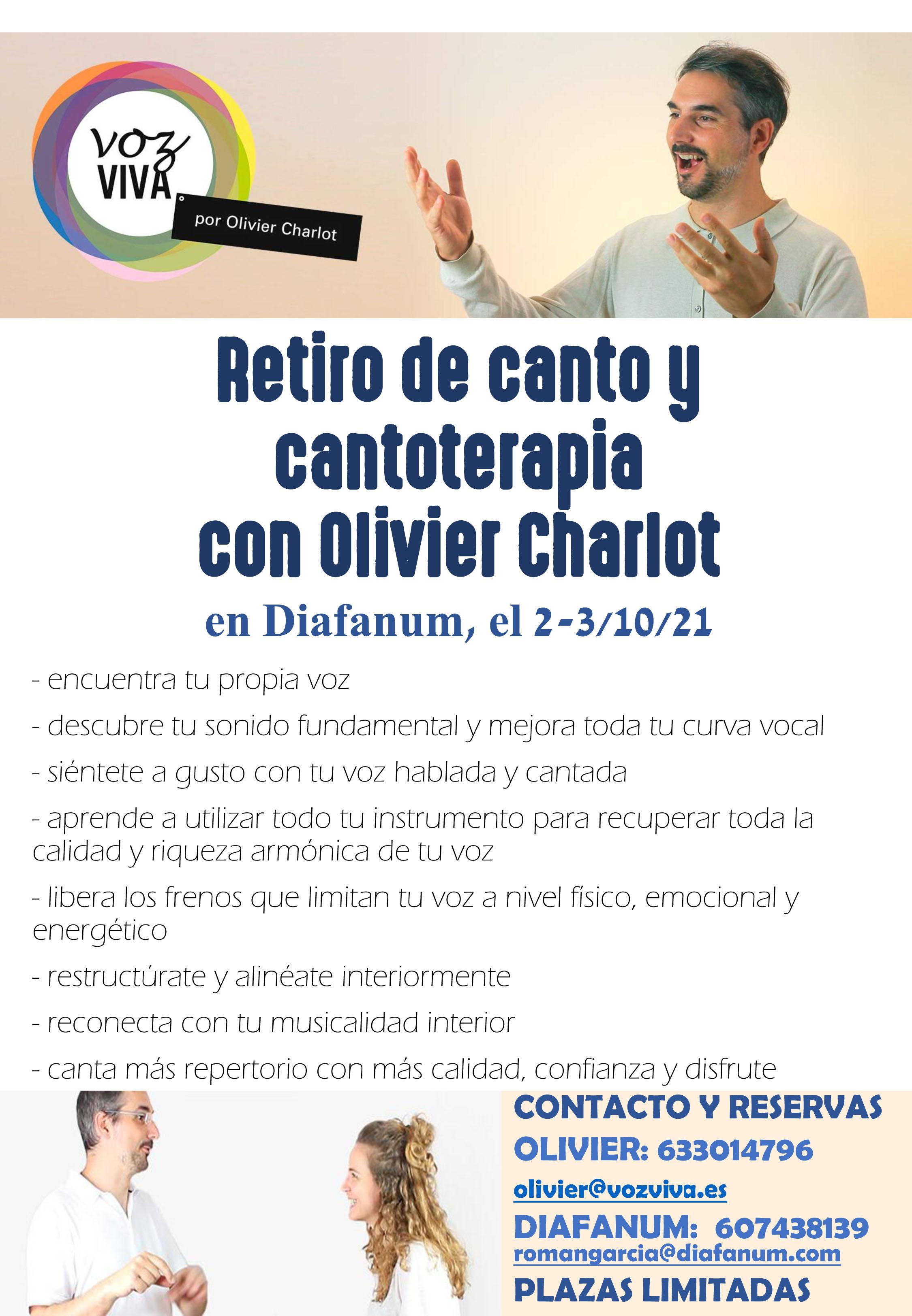 Retiro de canto y cantoterapia con Olivier Charlot